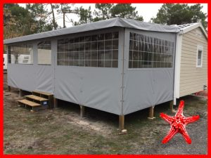 terrasse bois bisca 7.50 avec fermeture intégrale grise